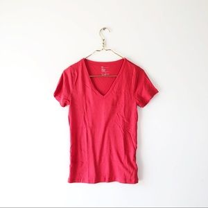 GAP the modern v-neck large red pink top shirt tee